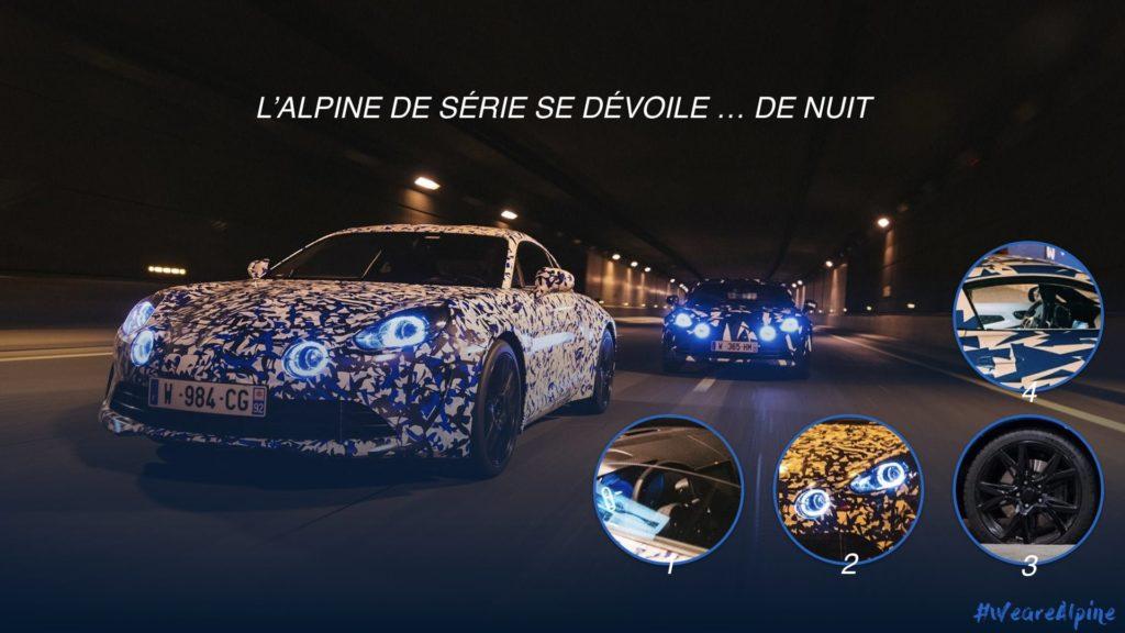Alpine A110 AS110 décrytptée nocturne 1024x576 - Scoop | Alpine en tournage au Col du Turini