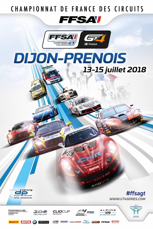 Affiche FFSA GT4 Dijon 13 Juillet 2018 Alpine A110 CMR | FFSA GT4: deux Alpine A110 GT4 engagées par CMR à Dijon