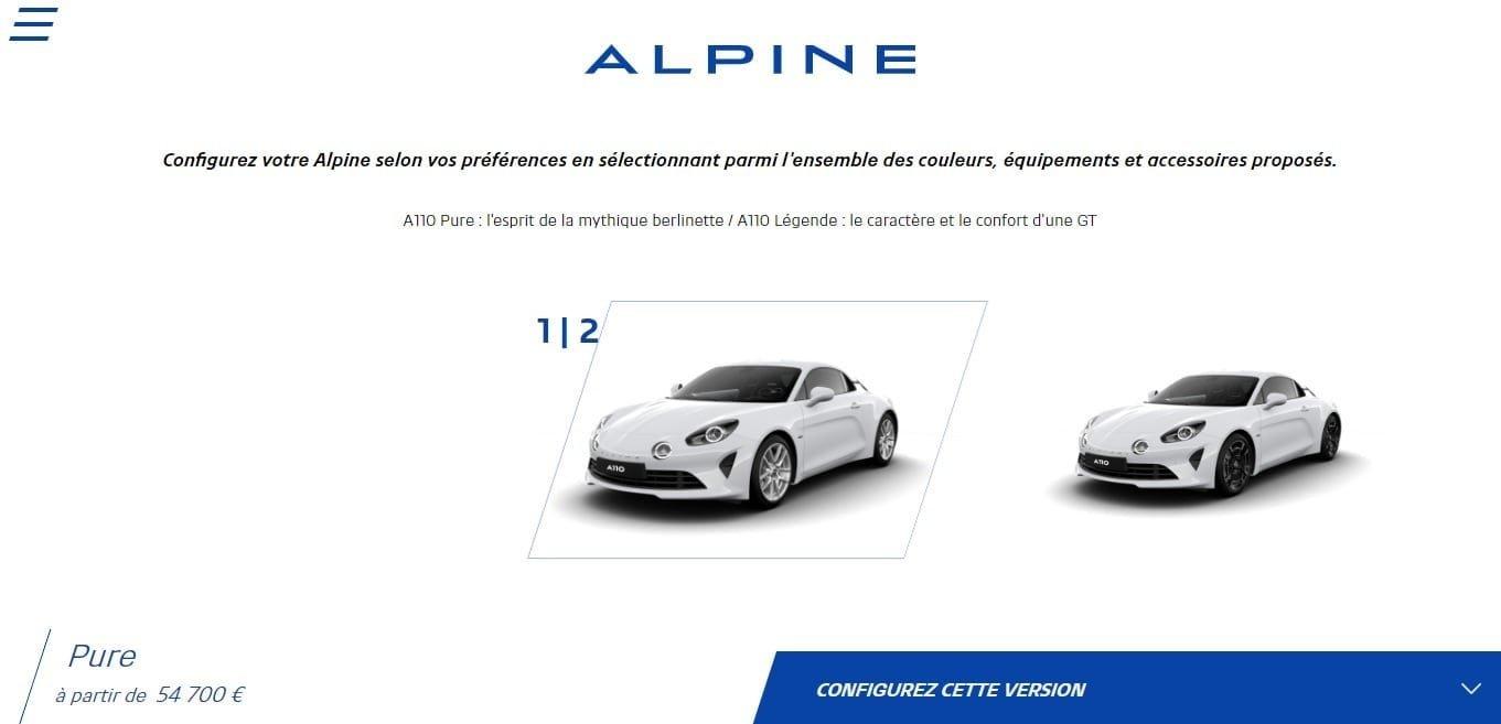 Alpine Cars Configurateur A110 Pure Légende Configurator 1 | Alpine libère le configurateur de l'A110 Pure et Légende