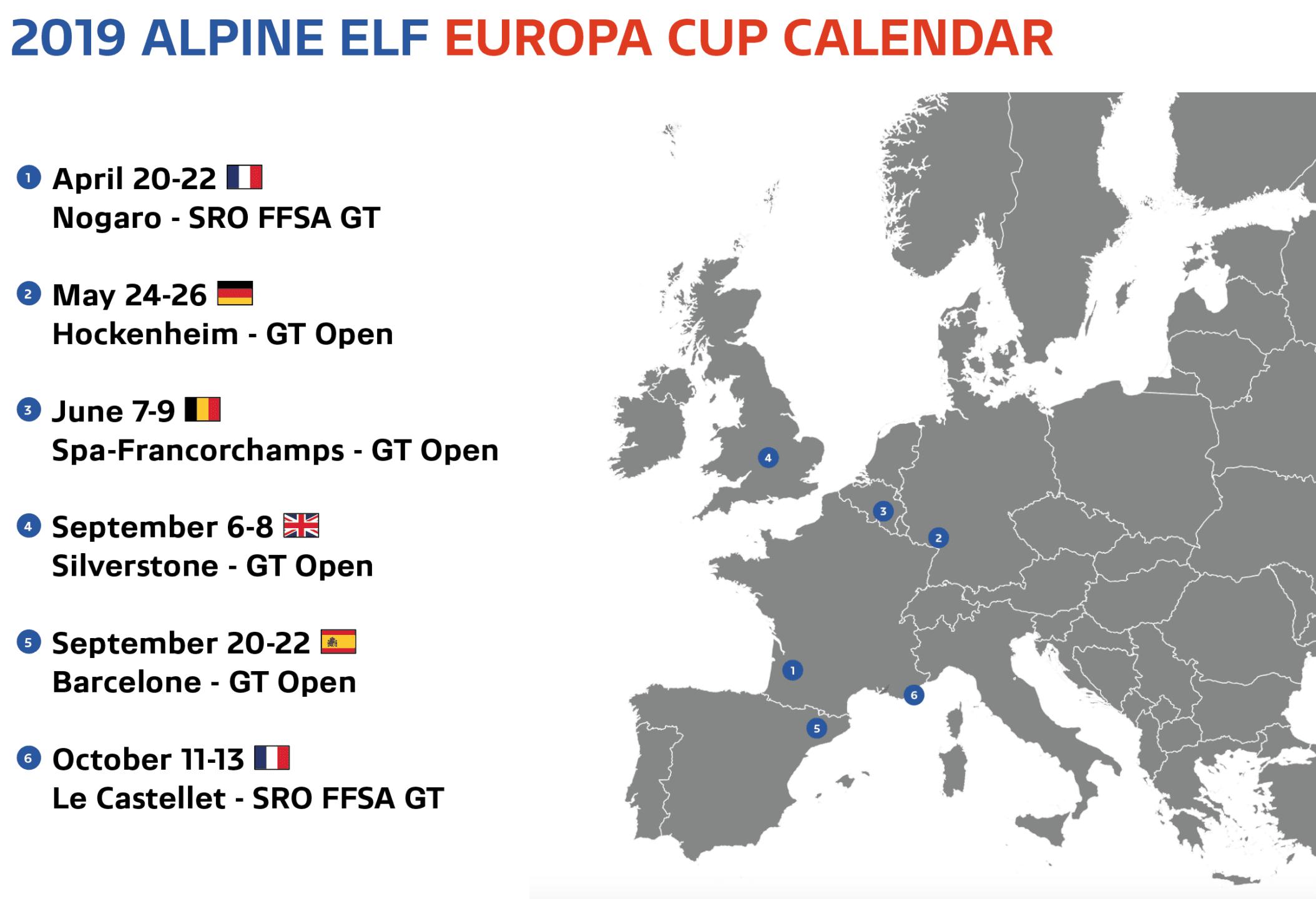 Alpine Elf Europa Cup programme calendrier 2019 | Alpine Elf Europa Cup: par ici le programme 2019 !