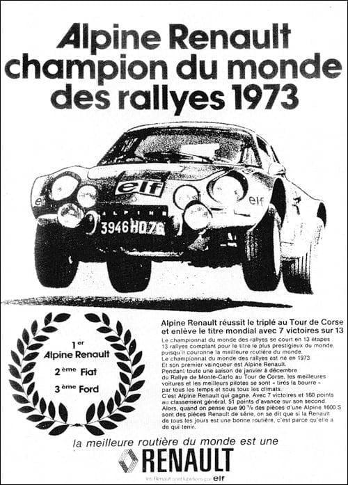 Championnat du mone rallye 1973 Alpine A110 Thérier Darniche Piot Nicolas 18 | Championnat du Monde des Rallyes 1973: Le Triomphe d'Alpine