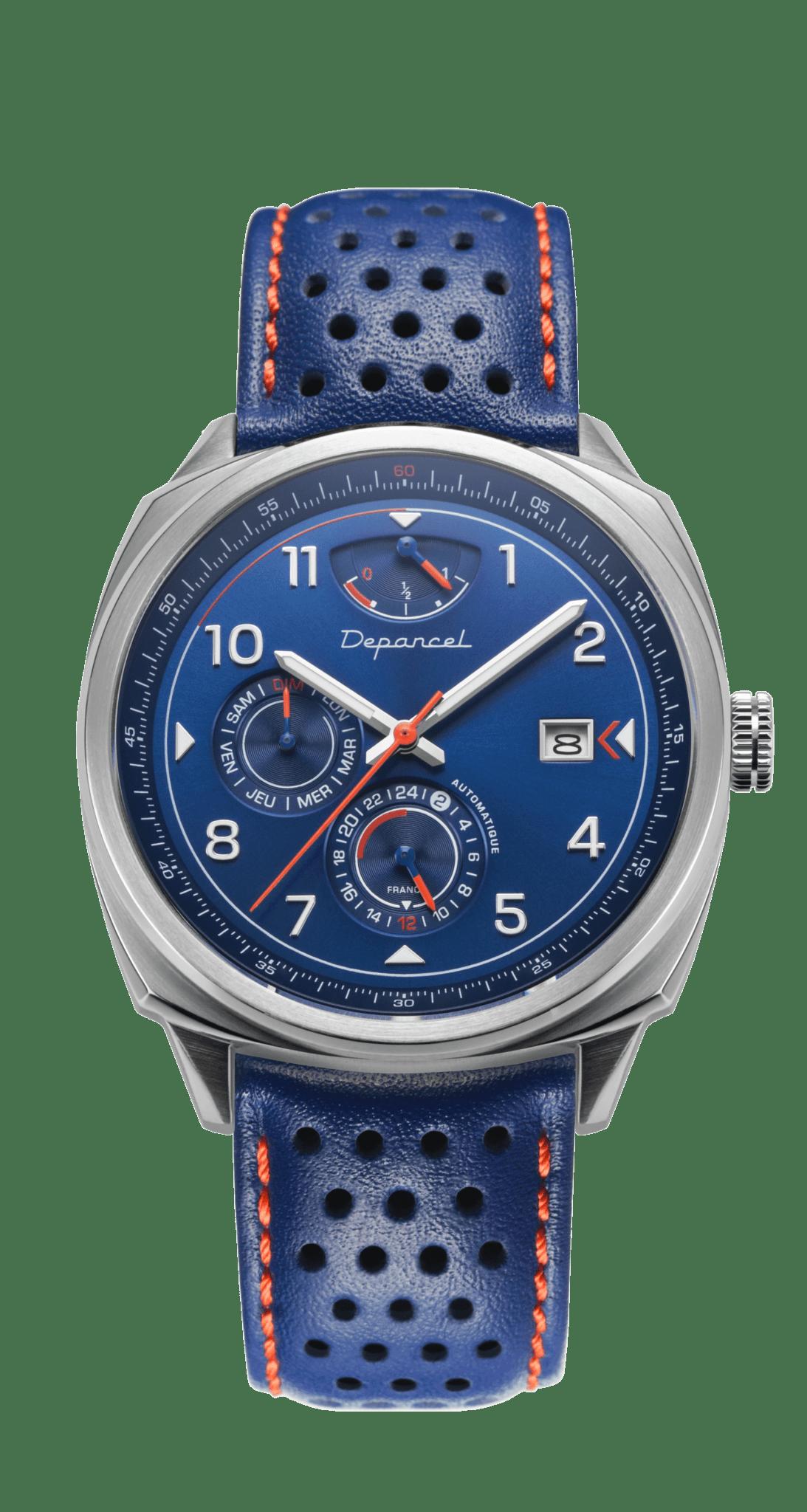 Depancel Auto 110 Bracelet Cuir Bleu Cadran Bleu | Depancel AUTO 110: l'inspiration bleue