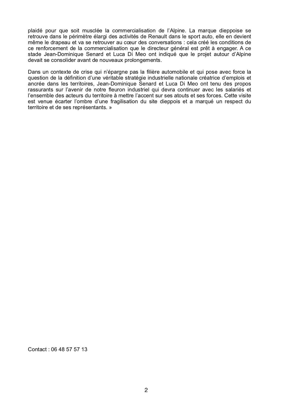 Compte rendu Sebastien Jumel 9 Septembre 2020 2 | Usine Alpine de Dieppe: la visite surprise de Luca De Meo
