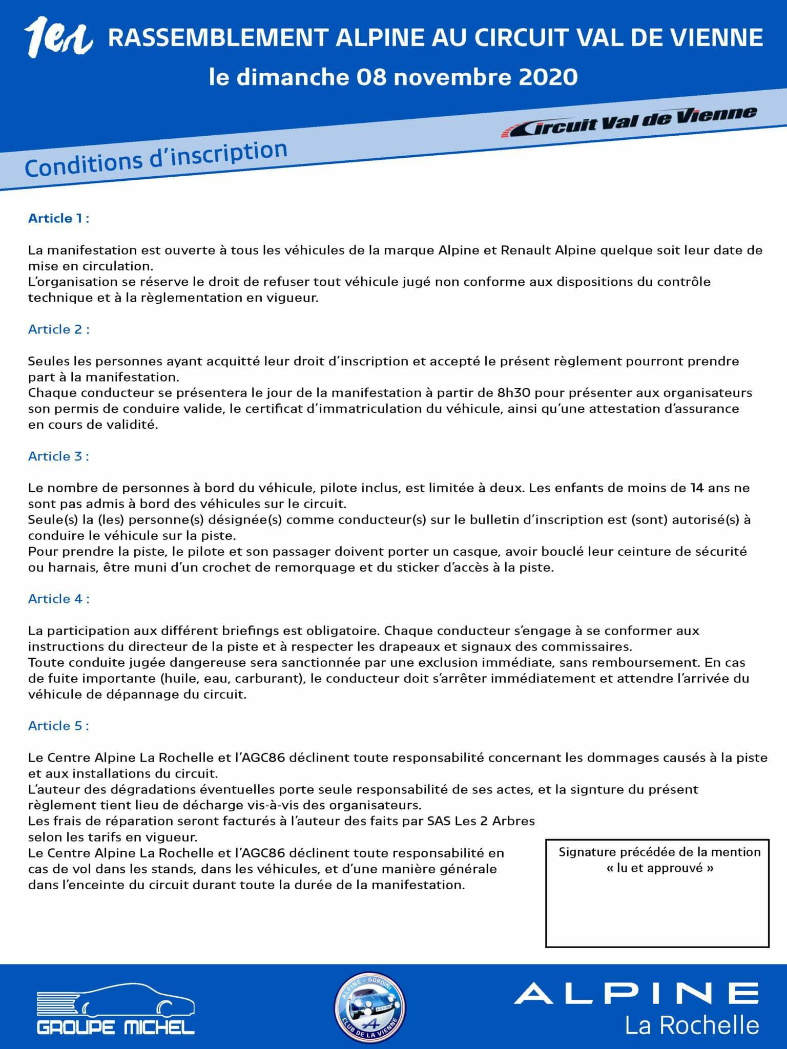 RASSEMBLEMENT ALPINE CIRCUIT VAL DE VIENNE Page 2 | Le 1er Rassemblement Alpine au Circuit Val de Vienne 2020