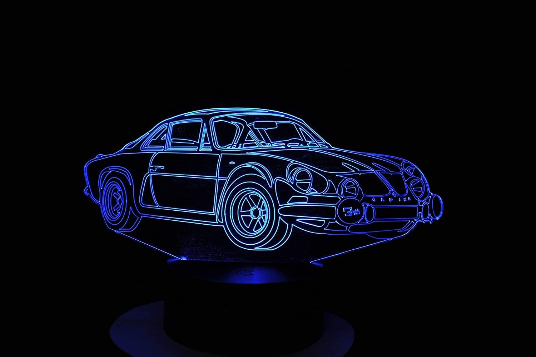 A110 Berlinette lampe 3D a LED led illusion 3D 7 Couleurs | 30 idées de cadeaux de Noël pour les passionnés d'Alpine