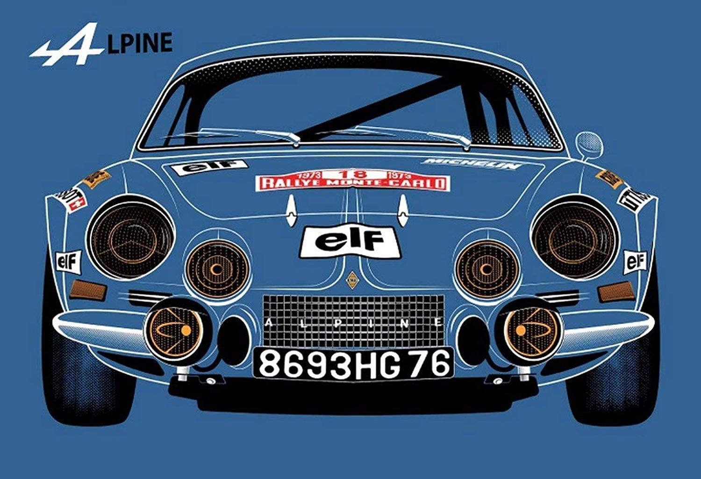 KELLEN WHITEHEAD Renault Alpine Blau Affiche De Decoration Drole De Panneau De Mur en Metal Art | 30 idées de cadeaux de Noël pour les passionnés d'Alpine