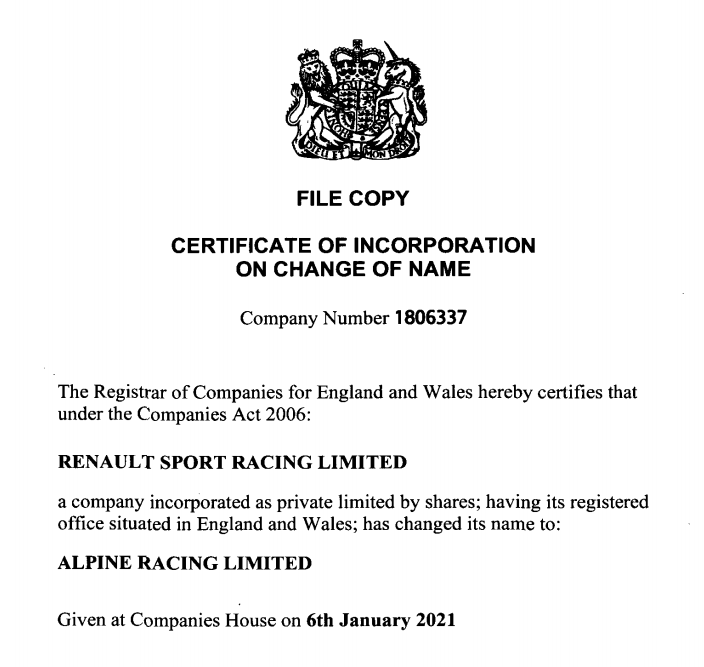 Alpine Racing Limited | Renault Sport Racing Limited disparaît au profit d'Alpine Racing Limited en 2021