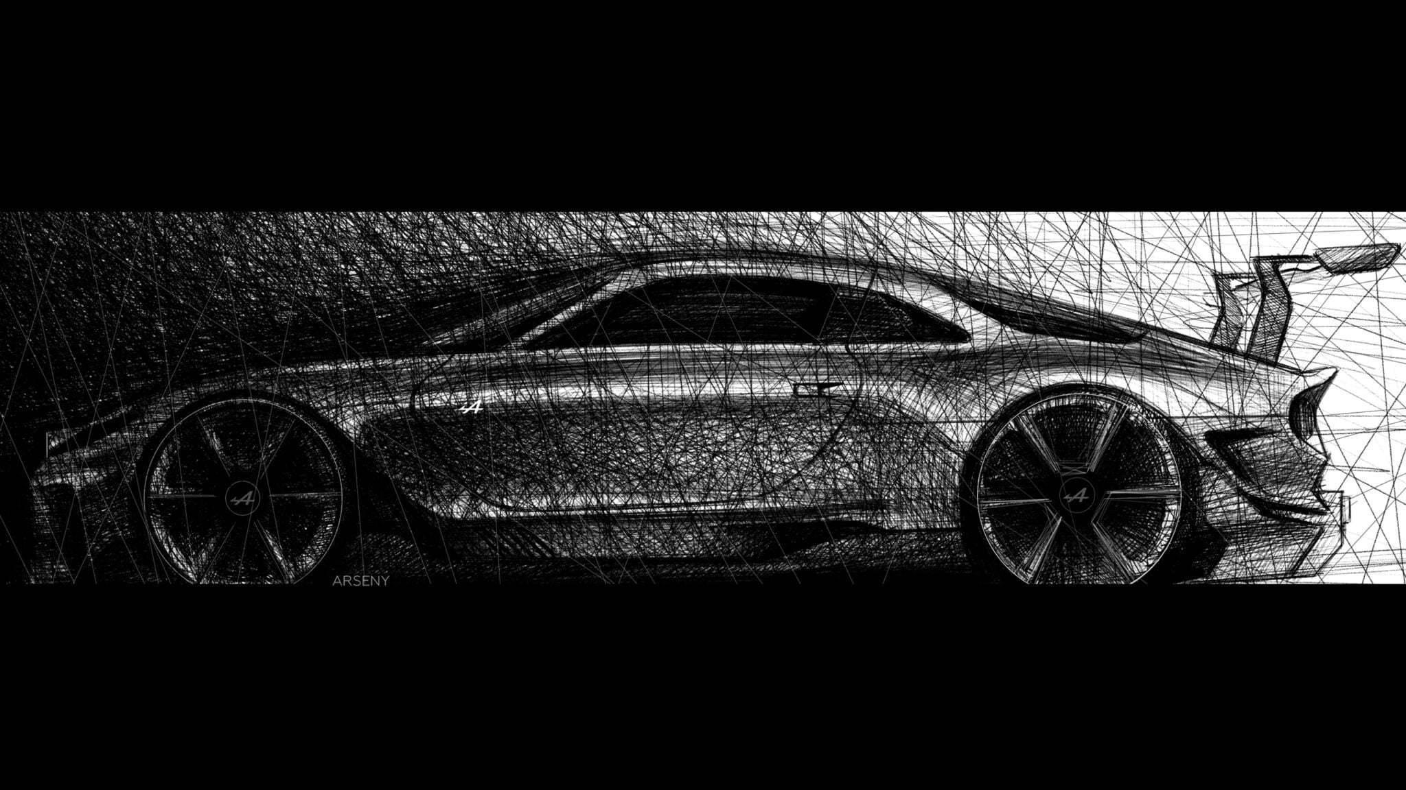 alpine gta arseny kostromin side view sketch | Alpine GTA : l'étude du designer Arseny Kostromin qui s'inpire de l'A110