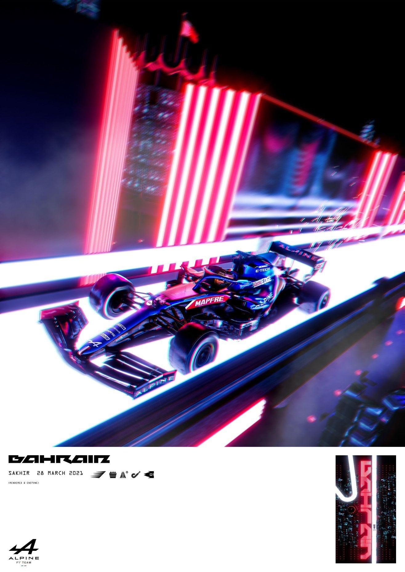 Alpine F1 Team A521 poster Bahrain 2021