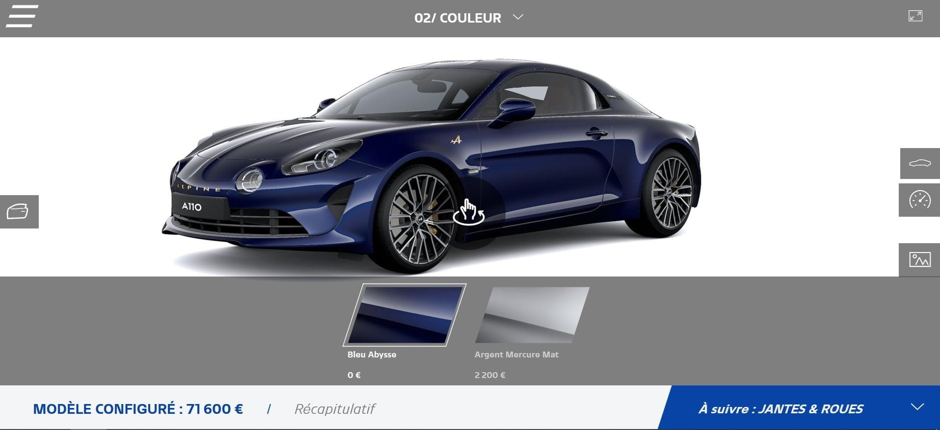 Alpine A110 Légende GT 2021 bleu Abysse 292 ch configurateur
